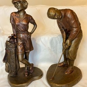 Accents - Decorative make and female golf statues